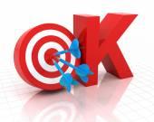 Okay symbol with target, 3d render — Stock Photo
