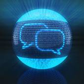 Chat icon on sphere formed by binary code — Stock Photo