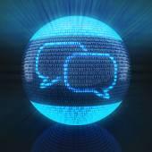 İkili kod tarafından kurulan küre simgesine sohbet — Stok fotoğraf