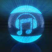 Music icon on sphere formed by binary code — Stock Photo