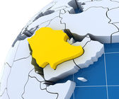 Globe with extruded continents, close-up on Saudi Arabia — Stock Photo