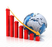 Real estate falling chart with globe, 3d render — Stock Photo