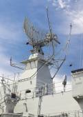 Radar tower on a destroyer — Stock Photo