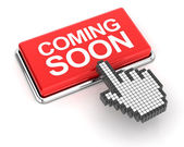 Hand cursor clicking a coming soon button — Stock Photo