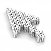 Cursor with binary code — Stock Photo
