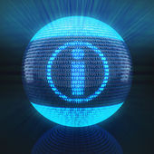 Info symbol on globe formed by binary code — Stock Photo