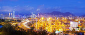 Panorama of cargo terminal and Hong Kong cityscape — Stock Photo