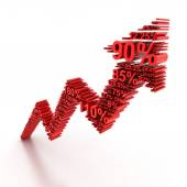 3d rising arrow formed by numbers — Stock Photo
