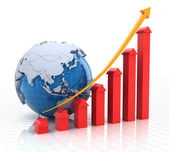 Real estate growth chart with globe, 3d render — Stock Photo