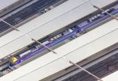 Aerial view of train in a railway station — Stock Photo