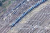 Aerial view of train in motion — Stock Photo