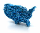 Map of USA formed by names of major cities — Stock Photo