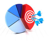 Pie chart with target — Stock Photo