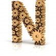 Alphabet N formed by gears — Stock Photo #72428093