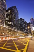 Financial district in Hong Kong at night — Stock Photo