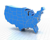 Extruded map of USA with state borders — Stock Photo