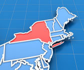 3d render of USA map with New York state highlighted — Stock Photo