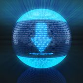 Download icon on globe formed by binary code — Foto Stock