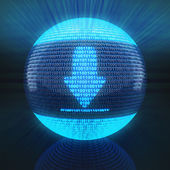 Download icon on globe formed by binary code — Foto de Stock
