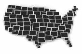 Map of USA formed by blank picture frames — Stock Photo