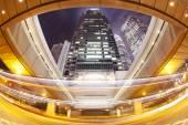 Hong Kong at night with traffic trails — Stock Photo