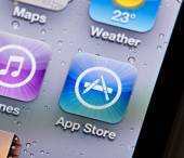Close-up view of the App Store icon on an iPhone — Stock Photo