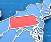 3d render of USA map with Pennsylvania state highlighted — Stock Photo