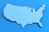 Blue paper map of USA with state borders — Stock Photo