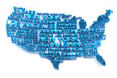 USA map formed by names of major cities — Stock Photo