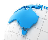Globe of Australia with national borders — Stock Photo