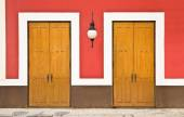 Two doors against color wall — Stock Photo