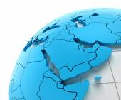 Globe of Middle east with national borders — Stock Photo