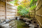 Outdoor onsen, japanese hot spring — Stock Photo