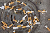 Cigarette butts littering — Stock Photo