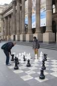 Outdoor chess board — Stock Photo