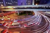Traffic at night in Hong Kong — Stock Photo