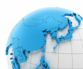 Globe of Asia with national borders — Stock Photo