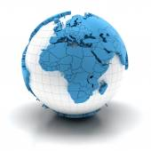 Globe with extruded continents, Europe and Africa region — Stock Photo