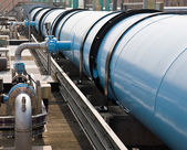 Large water pipe in a sewage treatment plant — Stock Photo