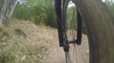 Timelapse video of mountain biking on a dirt road — Stock Video