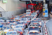 Busy traffic of  Cross Harbour Tunnel — Stock Photo
