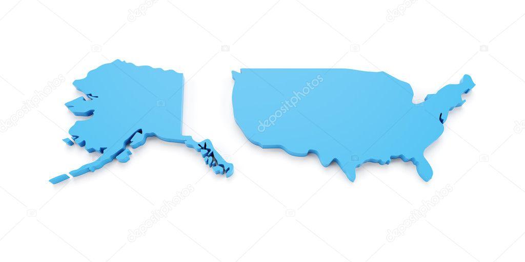匹配的美国阿拉斯加与电子地图