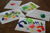 Pictures child acrylics — Fotografia Stock