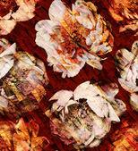Orange peonies with texture — Stock Photo