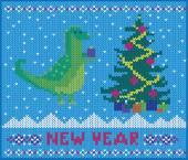 Dinosaur celebrate the new year — Vector de stock