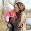 Mum and her Child - Little Daughter. Happy Smiling Family — Stock Photo #66828731