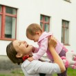 Mum and her Child - Little Daughter. Happy Smiling Family — Stock Photo #66870771