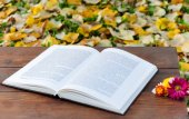 Open book on wooden table with flowers — Photo