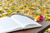 Open book on wooden table with flowers — Stock fotografie