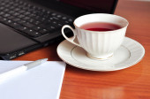 Tea break at work — Stockfoto